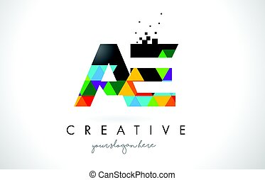 AE A D Letter Logo with Colorful Triangles Texture Design Vector.