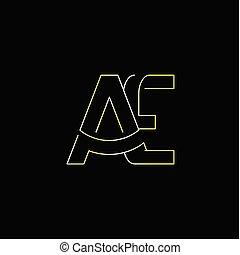 ae, początkowy, wektor, litera, logo, kreska