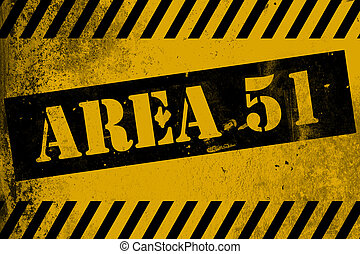 Aea 51 sign yellow with stripes