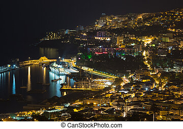 Aearial view at night of Funchal, capital city of Madeira Island, Portugal