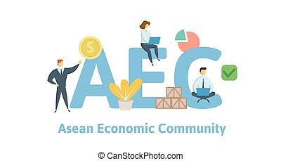 aec, asean, economía, community., concepto, con, keywords, cartas, y, icons., plano, vector, illustration., aislado, blanco, fondo.