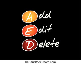 AED - Add, Edit and Delete, acronym technology concept...