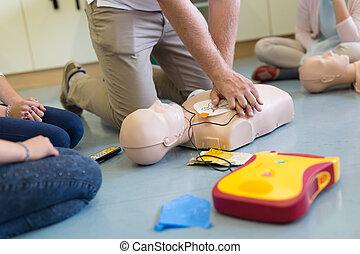 aed., curso, utilizar, ayuda, resucitación, primero
