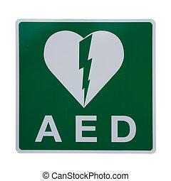 AED Defibrillator Sticker - Isolation of an AED Sticker to...