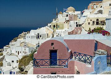 Aegean island Santorini - Stone building in Oia, Santorini ...
