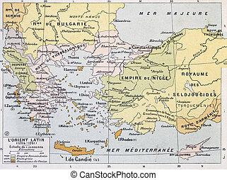 Aegean region in 13th century old map. By Paul Vidal de...