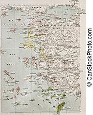 Aegean sea - Aegean islands and Turkish coast old historical...