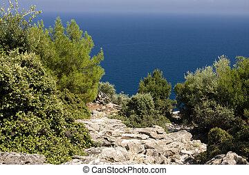 Aegean sea landscape - Landscape of Aegean sea viewed from ...