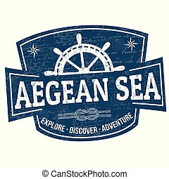 Aegean sea sign or stamp on white background, vector...