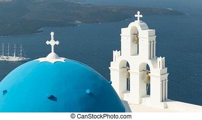 aegean sea with view to Virgin Mary Catholic Church Three...