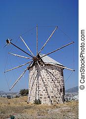 Aegean style old mills in Bodrum, Turkey