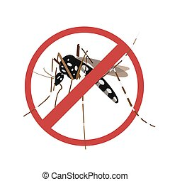 Aegypti mosquito with forbidden sign.Vector EPS10