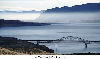 Aeiral View Columbia River Wanapum Lake Highway Crossing...