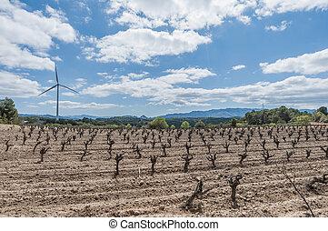 aeolic, moinhos vento, em, catalonia, espanha