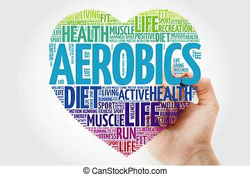 aeróbica, coração, palavra, nuvem, com, marcador