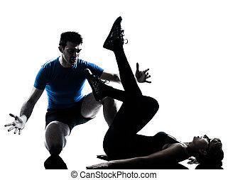 aeróbica, intstructor, com, mulher madura, exercitar