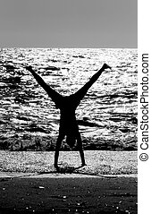aeróbica, ligado, praia