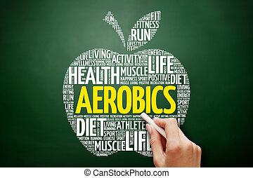 aeróbica, maçã, palavra, nuvem, colagem