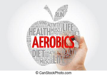 aeróbica, maçã, palavra, nuvem, com, marcador