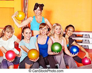aeróbica, mulheres, class.