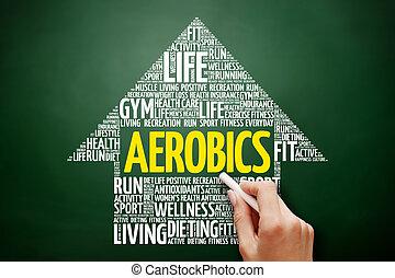 aeróbica, seta, palavra, nuvem