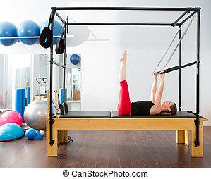 aeróbico, cadillac, mulher, pilates, instrutor