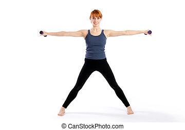 aeróbico, mulher, exercício, condicão física