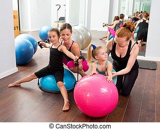 aeróbicos, pilates, mujeres, niño, niñas, entrenador personal