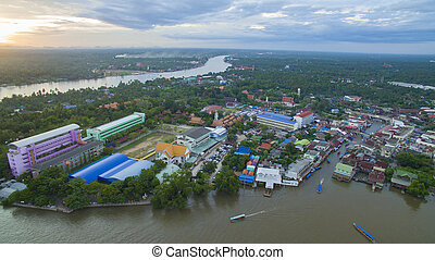 aerail view of amphawa canal and mae klong river most ...