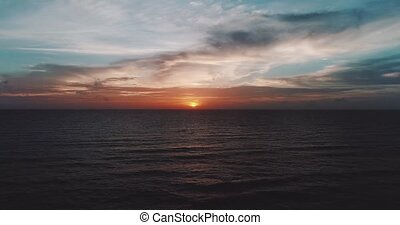 Aerail view of sea and cloudy sunset sky - Aerail drone view...