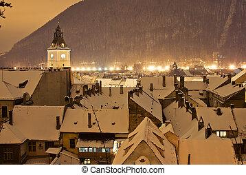 Brasov center in a winter night, Romania