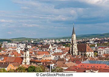 Aeral view with St. Michael's Church-tower, the largest Gothic-style church in Cluj, Romania