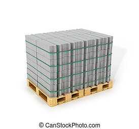 Aerated concrete blocks stacked on wooden pallets. Building materials on a white background. 3D illustration