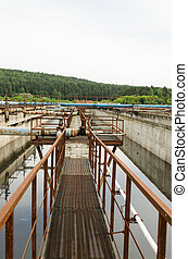 Aeration process in basin with dirty sewage water