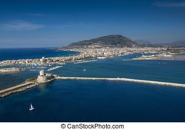 aereal landscape of Trapani port - trapani aereal landscape...