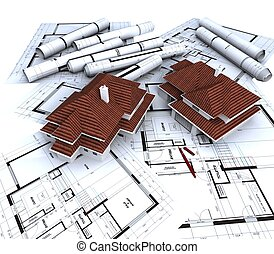 Modèles, aérien, sans toit, maison, architecte, rouges, vue. Plans, maison, sommet, rendre ...