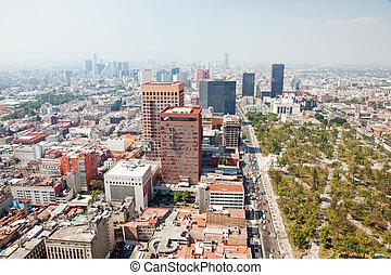 Aereal view of Mexico city and the Palacio of Bellas artes...