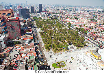 Aereal view of Mexico city and the Palacio of Bellas Artes