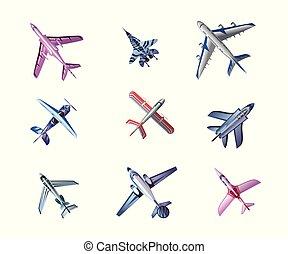 aerei, fondo, differente, vettore, illustrazione, set, aeroplano, vista