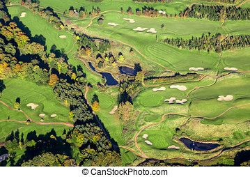 aereo, campo golf