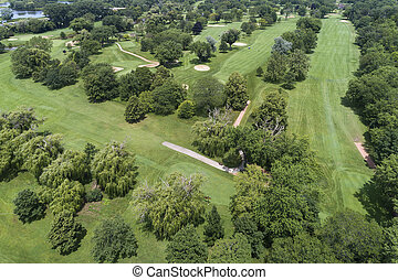 aereo, campo golf, vista
