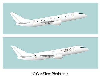 aereo carico, &, passeggero