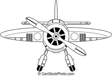 aereo, cartone animato, contorno