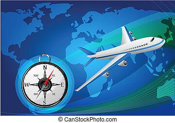 aereo, con, bussola