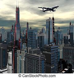 aereo di linea, sopra, futuristico, cityscape