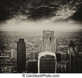 aereo, distretto, moderno, tramortire, orizzonte, vista, finanziario, london., sunset.