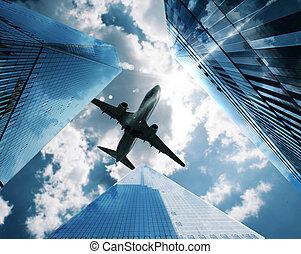aereo, fra, grattacieli