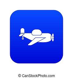 aereo giocattolo, icona, digitale, blu