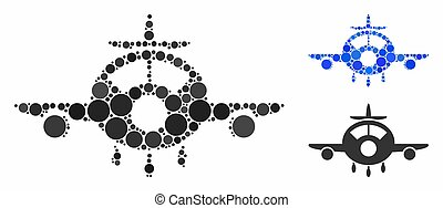 aereo, icona, mosaico, cerchio, punti