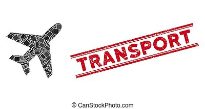aereo, mosaico, trasporto, francobollo, sigillo, grunge, linee